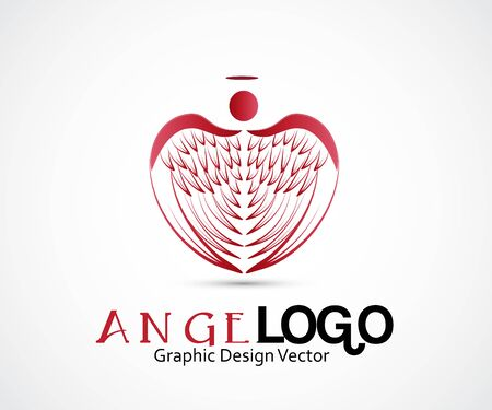 Angel in a heart shape wings vector icon template