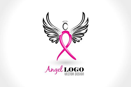 Angel ribbon cancer symbol id card vector image design 版權商用圖片 - 129485262