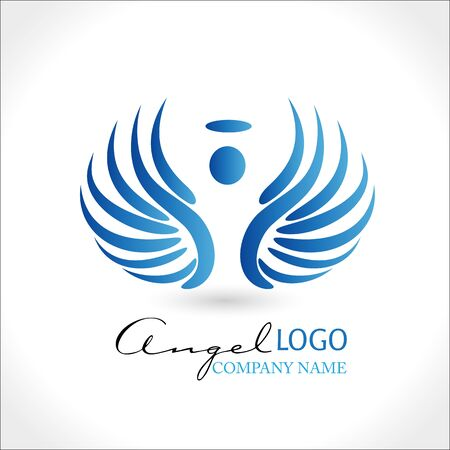 Angel with blue wings and halo icon vector design
