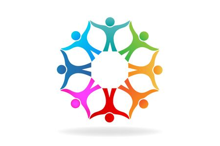 Teamwork people holding hands unity friendship community id card business flower shape icon vector design