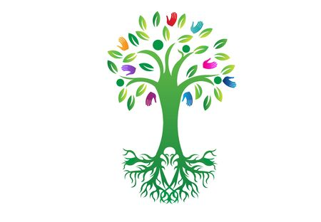 Tree of life with roots vector image web template