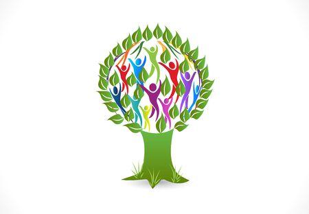 Tree people vector symbol design image template