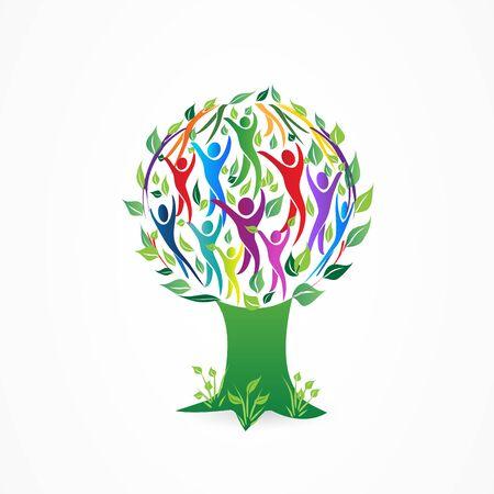 Tree people figures vector symbol design web image template Illusztráció