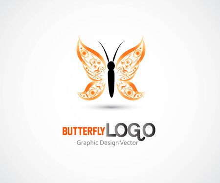 Butterfly orange garden insect id card business vector