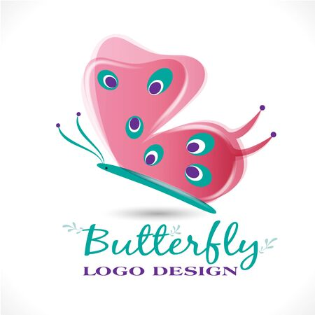 Butterfly pink color beautiful graphic design vector