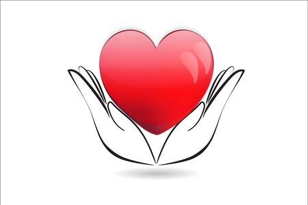 Hands holding a heart icon vector image design Ilustração