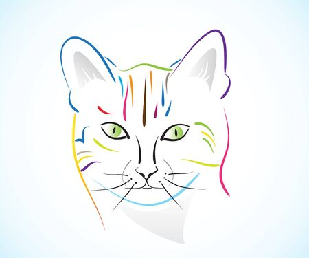 cat head icon line art colorful id card vector image Ilustração