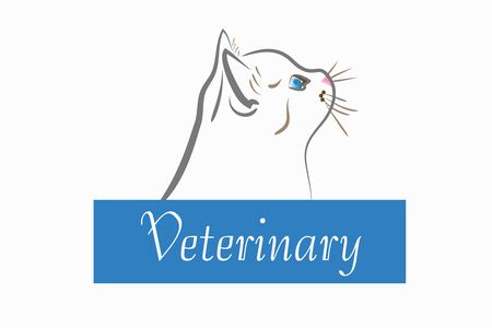 Cat head line art veterinary id card icon vector image design Ilustração