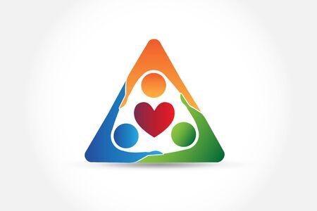 Teamwork people hug love heart identity app icon vector web image template Ilustração