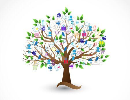 Tree business people social media icons vector web image template Ilustração