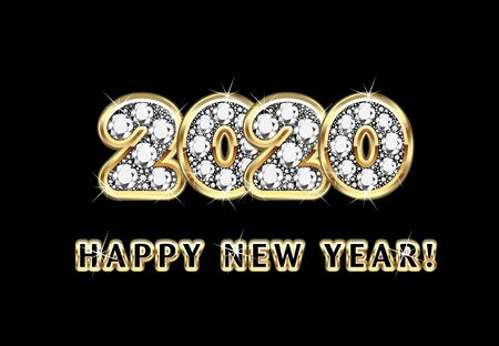2020 Happy New Year Gold And Diamonds With Shiny Lights Vector