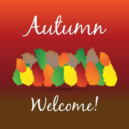 Autumn colorful fall leafs greetings card holidays celebrations vector image background web render template Ilustração