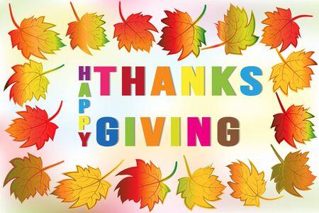 Thanksgiving fall leafs greetings card holidays celebrations vector image background web render template Ilustração