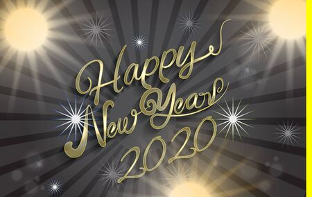 Happy new year 2020 gold shine lights graphic design vector image