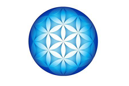 Flower of life symbol blue color geometric pattern symetrical structure of hexagon graphic illustration vector web image Ilustração