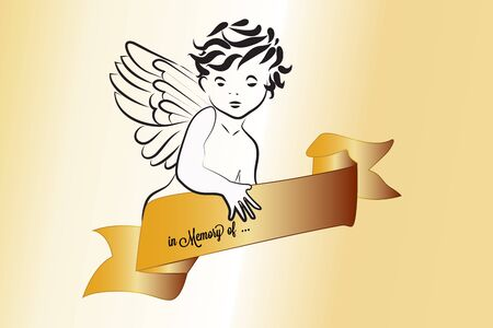 Angel and ribbon religious symbol vector image design