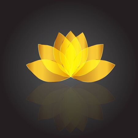 Golden beautiful lotus flower with reflections vector company id cards web image render template