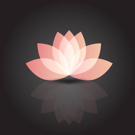 Pink beautiful lotus flower with reflections vector company id cards web image render template