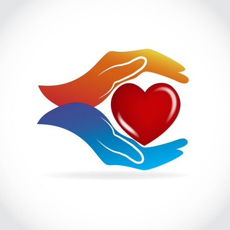 Hands holding a healthy love heart vector web image template graphic design illustration Çizim