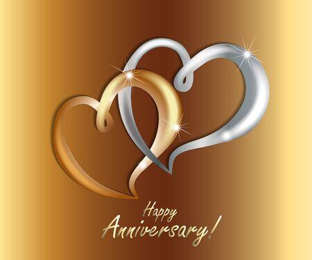 Gold love hearts couple wedding anniversary luxury symbol icon vector image web template render design