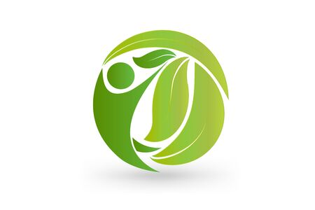 health nature leaf people in a circle shape icon vector design