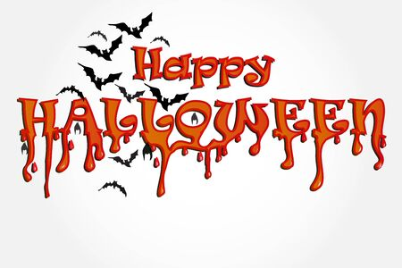 Halloween horror party background with flying bats. Vector Banner Template Invitation Card Design