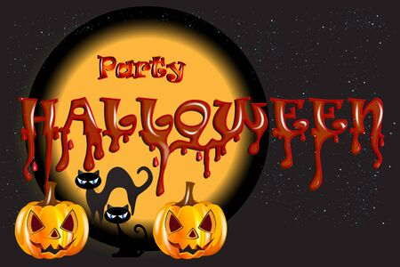 Halloween party night background With Pumpkin Scary Face Cats and Moon Vector Banner Template Invitation Card Design