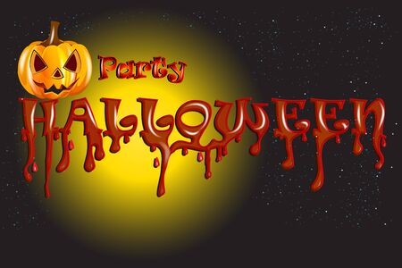Halloween party background With Pumpkin Scary Face Vector Banner Template Invitation Card Design