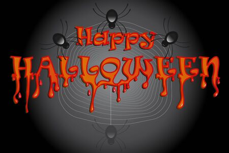 Halloween with spiders party background vector banner template invitation card design Ilustração