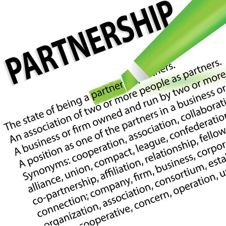 Partnership meanings marked with a highlight marker vector image template Illustration