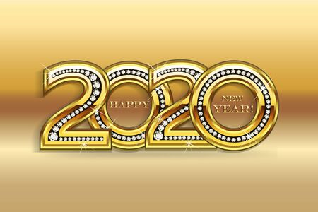 Happy 2020 new year gold bling party celebration invitation card vector image background banner design Stok Fotoğraf - 131402226