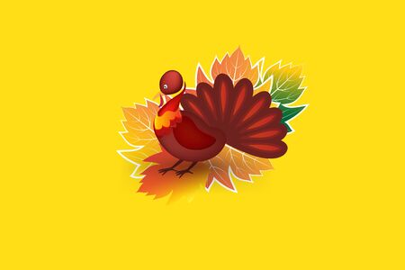 Thanksgiving turkey greetings card family celebration thankful day invitation card vector web image background template