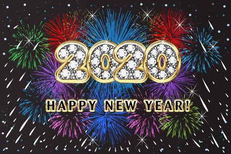Happy 2020 new year fireworks colorful party holidays event celebration background vector image design web template render