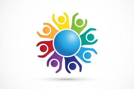 Logotipo, trabajo en equipo, unidad, gente de negocios, comunidad, caridad, voluntario, amistad, logotipo, imagen vectorial, tarjetas de identificación, plantilla web