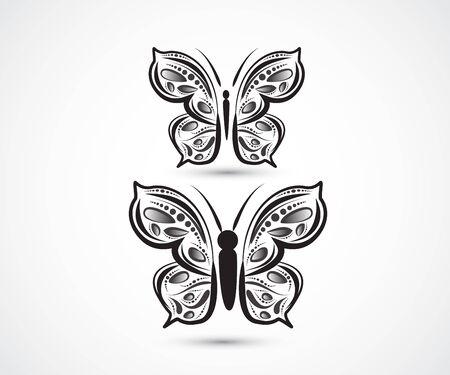 Butterfly set mandala art logo vector image design web template