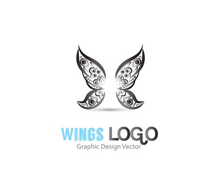 Butterfly wings mandala art logo vector image design web template Stock Illustratie