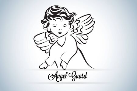 Angel guard child id card logo icon vector image design