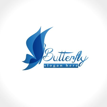 Butterfly blue graphic vector logo image design Illusztráció