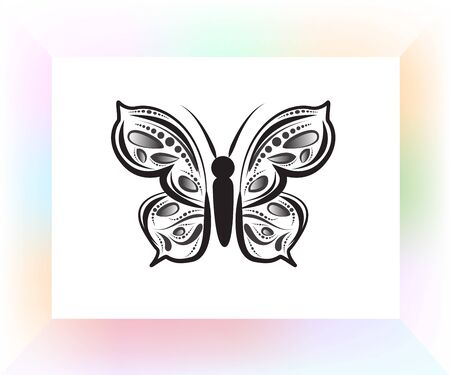 Butterfly mandala art logo vector image design template