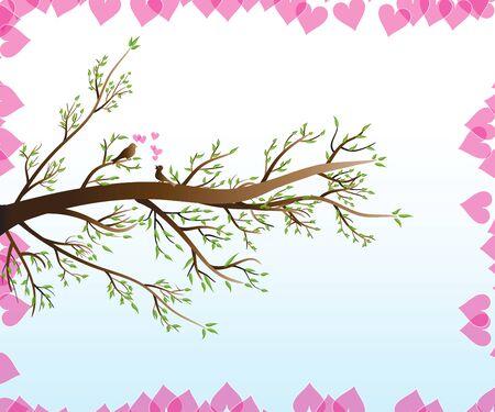 Love birds on a spring branch tree logo vector image Illustration