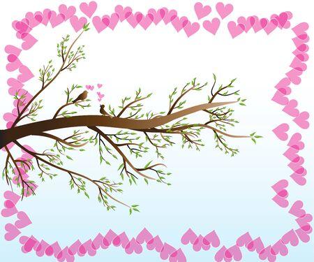 Love Birds on branch tree of love hearts vector image design