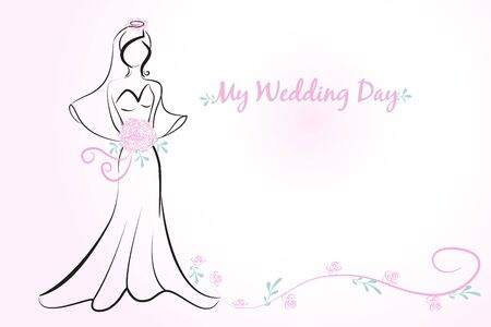 Beautiful bride bridal shower wedding symbol invitation card vector image design template Illustration