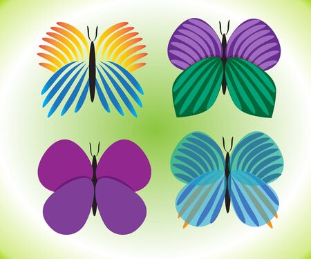 Butterfly set of fourth with vivid colors logo symbol image vector