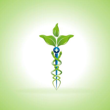 Symbol medyczny Kaduceusz z liśćmi zamiast węży. Koncepcja medycyny alternatywnej lub połączone zastosowanie wektora logo medycyny alternatywnej i konwencjonalnych praktyk medycznych