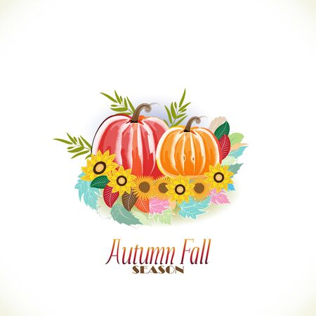 Autumn colorful fall leafs with pumpkin greetings card holidays celebrations welcome fall vector image background web render template