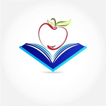 Educación símbolo libro y apple logo icono vector diseño de imagen web fondo tamplate