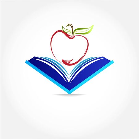Education symbol book and apple logo icon vector web image design tamplate background