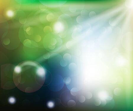 Rayos de sol de primavera y burbujas bokeh vector ilustración fondo web plantilla
