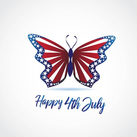 Butterfly flag USA colors card logo vector web image template