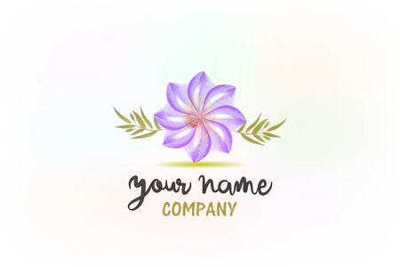 Lavender flower watercolor beauty symbol logo vector image graphic creative design element Illustration